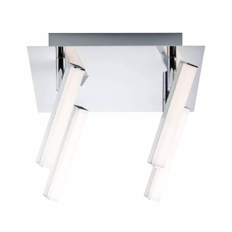 Plafonnier 4 spots LED rectangle long chrome et blanc 4w