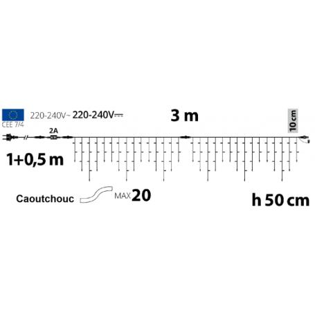 schéma guirlande stalactite  3m 50cm de hauteur
