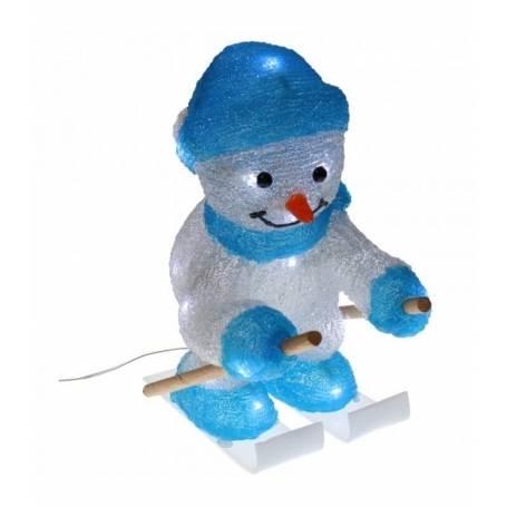 bonhomme de neige lumineux led skieur 33cm