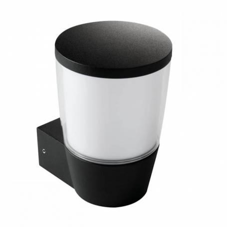 Applique lanterne Aluminium Noir et polycarbonate blanc E27