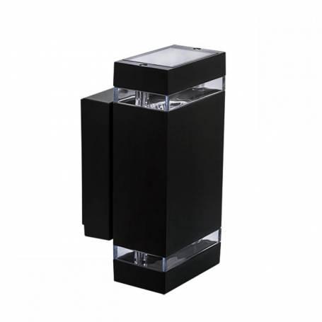 Applique extérieur double rectangle lumière Noir GU10 aluminium