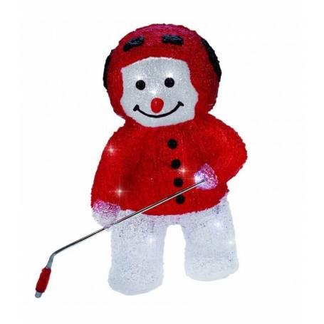 bonhomme de neige lumineux led hockeyeur 30cm