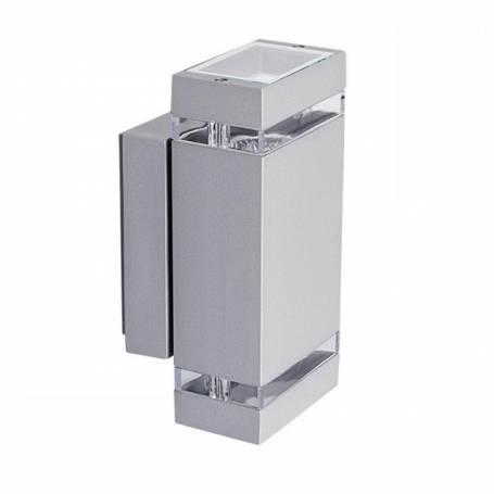 Applique extérieur double rectangle lumière Gris alu GU10