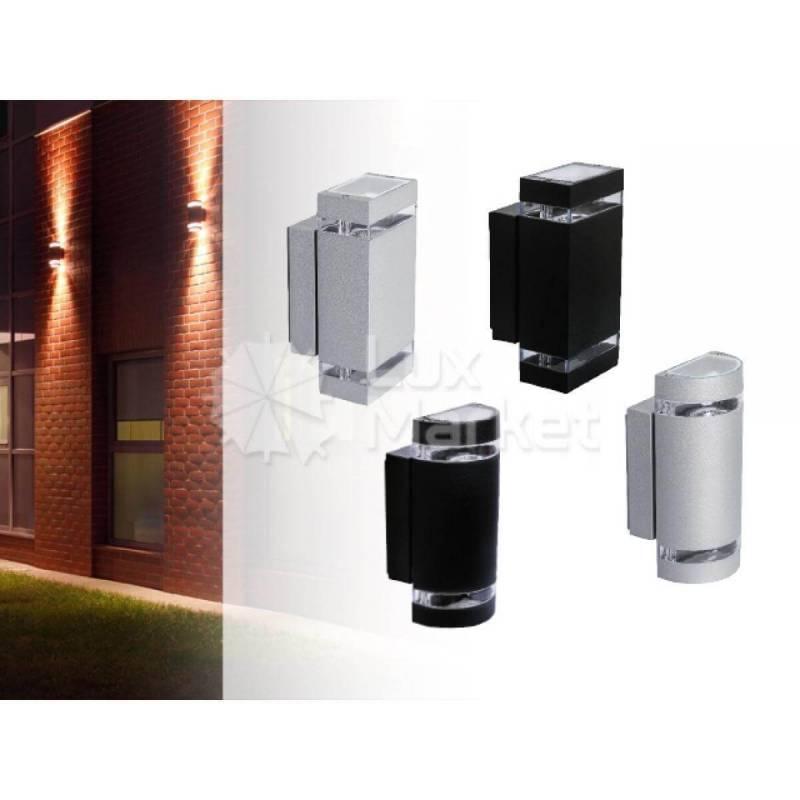 Applique extérieur double rectangle lumière Gris alu GU10 professionnel