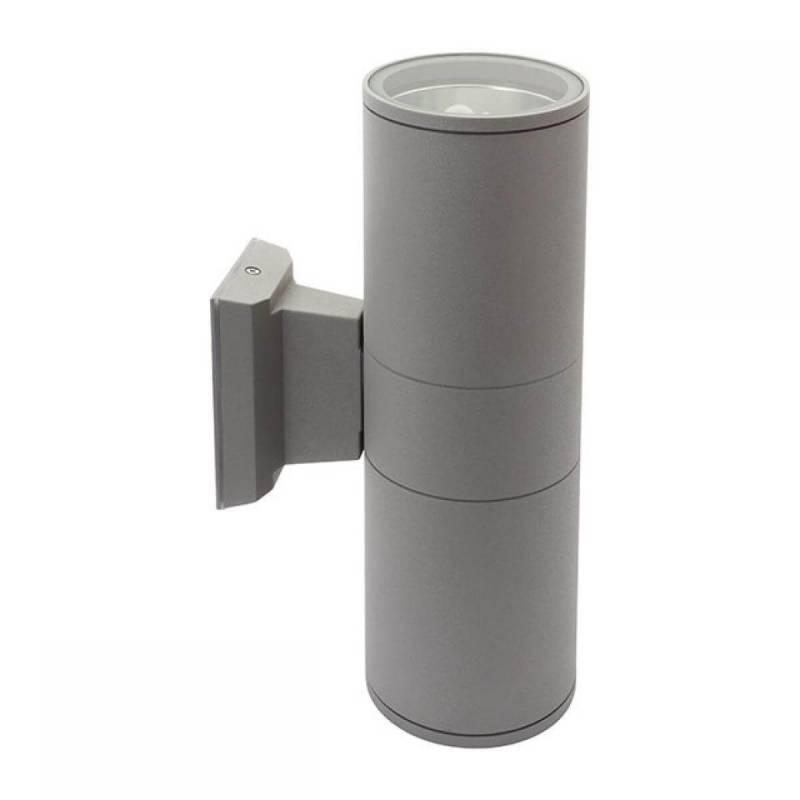 Applique extérieur E27 lumière haut et bas gris alu cylindre professionnel