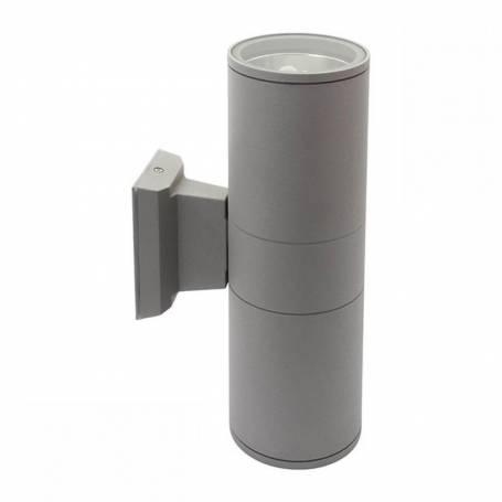 Applique extérieur E27 lumière haut et bas gris alu cylindre