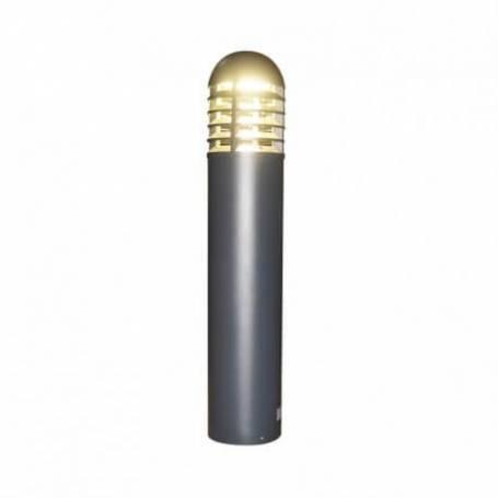 Potelet rond aluminium gris LED blanc chaud 35W exterieur IP65