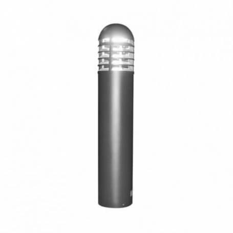 Potelet rond aluminium gris Led blanc froid 35W extérieur IP65