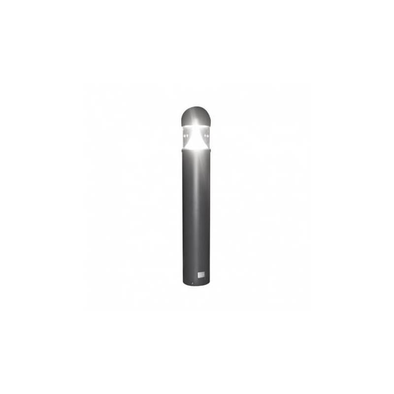 Potelet rond aluminium gris 35W Led blanc froid en triangle IP65 hauteur 101cm