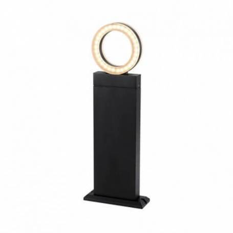 Borne rectangle aluminium anthracite Led blanc chaud diffuseur rond IP54 12W extérieur