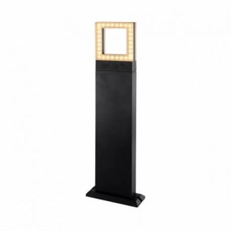 Borne rectangulaire anthracite Diffuseur carré Led blanc chaud IP54 12W extérieur