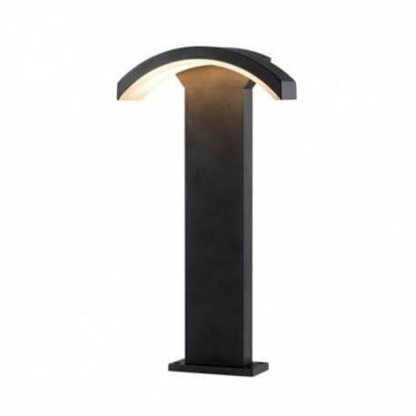 Borne rectangle aluminium gris diffuseur curviligne led blanc chaud 6W IP54