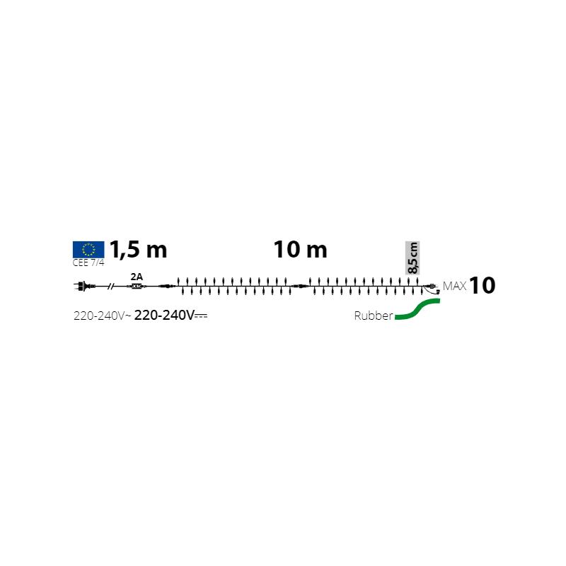 schéma guirlande pro 10m cable vert foncé blanc froid