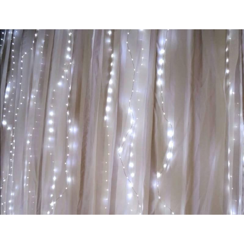 rideau lumineux led m tal micro led blanc froid 16 programmes. Black Bedroom Furniture Sets. Home Design Ideas