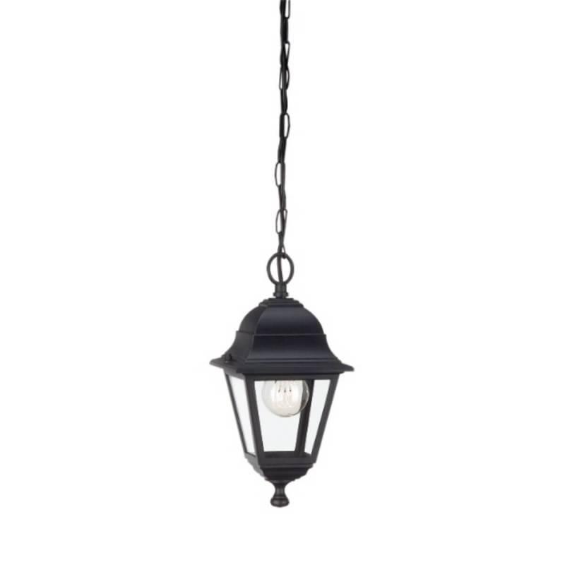 Suspension classique style lanterne noir exterieur aluminium IP44 professionnel