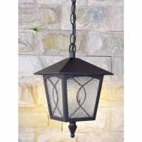 Suspension lanterne style classique ancien metal verre noir extérieur IP44
