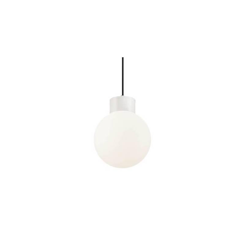 Suspension boule effet guinguette blanc plastique IP44 extérieur professionnel