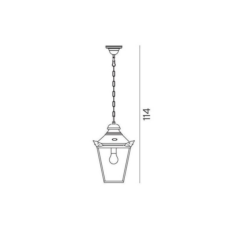 Suspension jardin lanterne cuivre IP44 extérieur professionnel