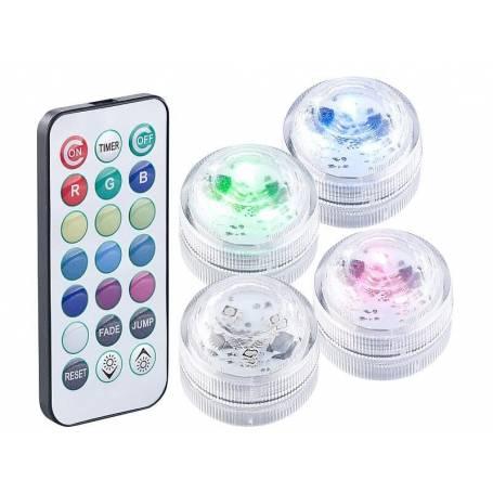LED submersible RGB à piles télécommande par 4
