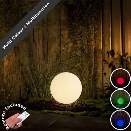Boule lumineuse extérieur 30CM blanche LED RGB 2W 12V IP44 Garden Pro professionnel