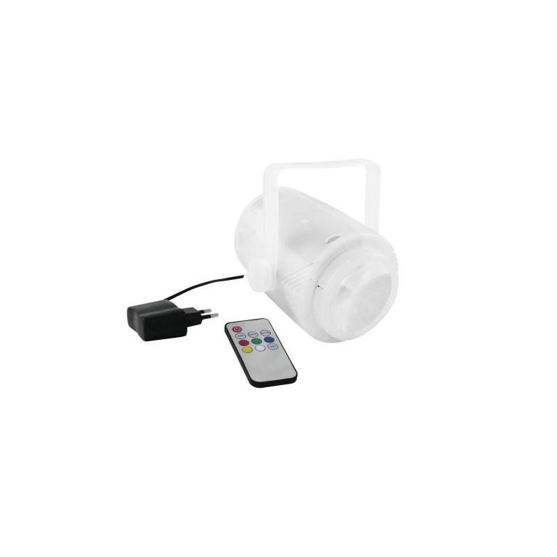 Projecteur rechargeable 5 faisceaux LED RGBW transparent professionnel