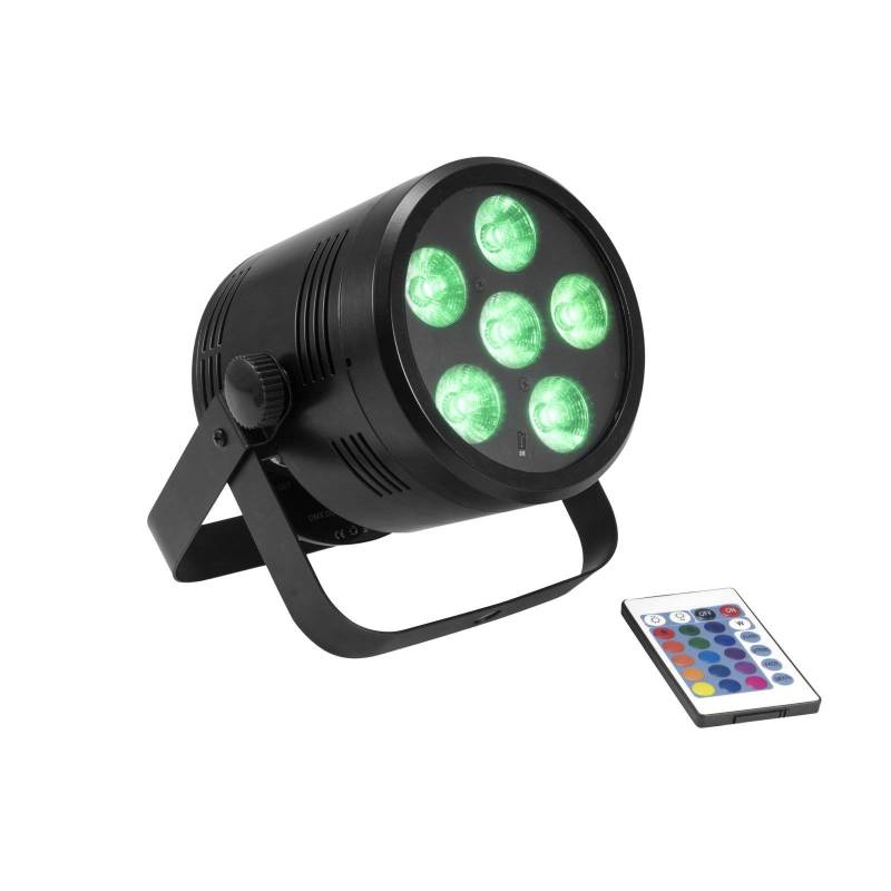 Projecteur scénique rechargeable 6 LED RGBW DMX 24W professionnel