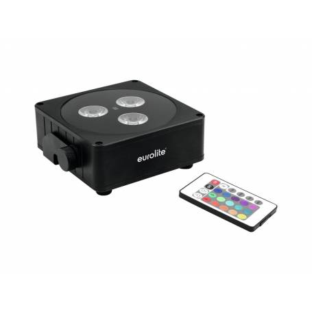 Projecteur rechargeable plat LED RGBW DMX 24W noir 3 faisceaux professionnel