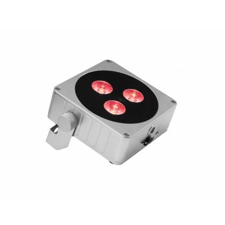 Projecteur rechargeable plat LED RGBW DMX 24W gris 3 faisceaux professionnel
