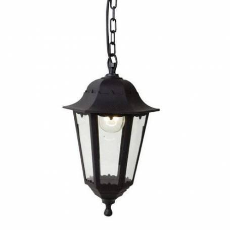 Suspension jardin classique style lanterne aluminium IP44 noir