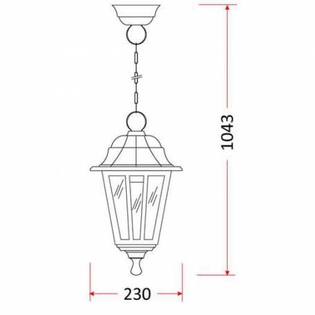 Suspension jardin classique style lanterne plastique IP44 noir professionnel
