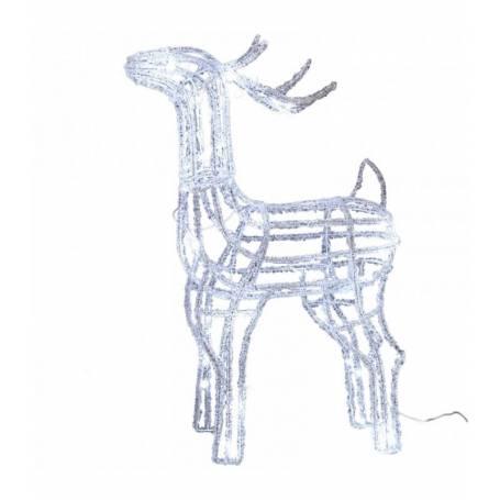 renne lumineux led Noël tête haute 80 cm flash