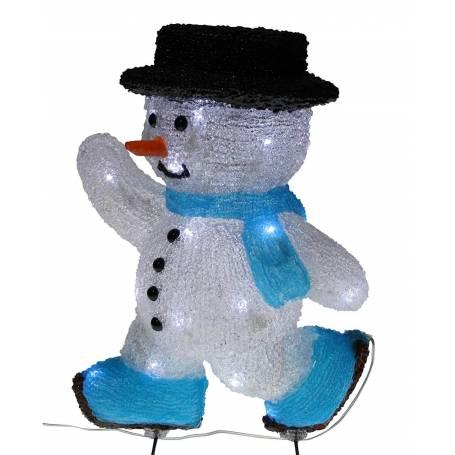 bonhomme de neige lumineux led patineur 30 cm