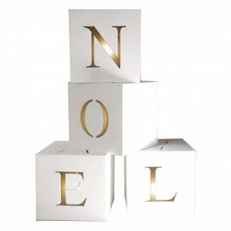 cube lumineux led bois Noël blancs 10 cm a piles