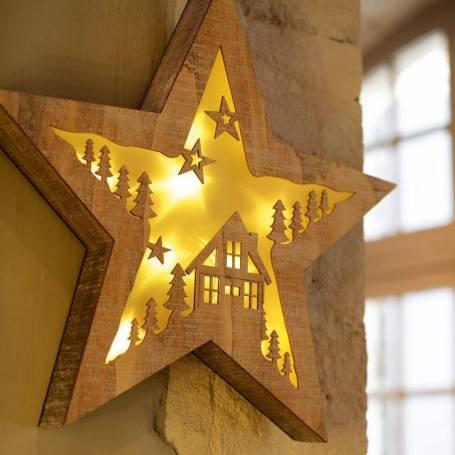 étoile lumineuse led bois 36 cm