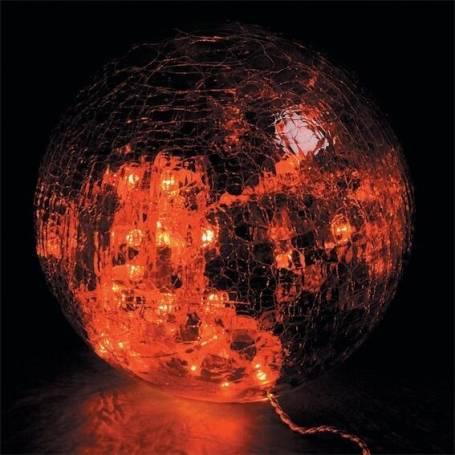 boule verre craquelés lumineuse led ambres guirlande rouges