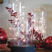 Cloche en verre guirlande lumineuse Led blanc chaud 26 cm