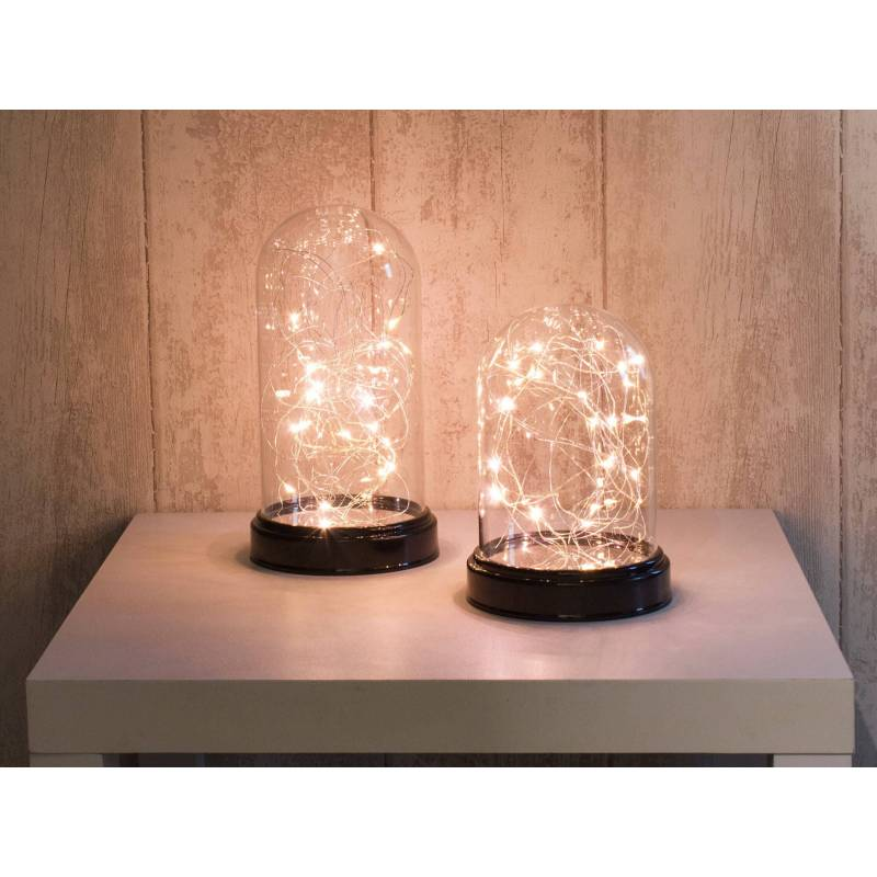 Cloche en verre guirlande lumineuse Led blanc chaud 32 cm