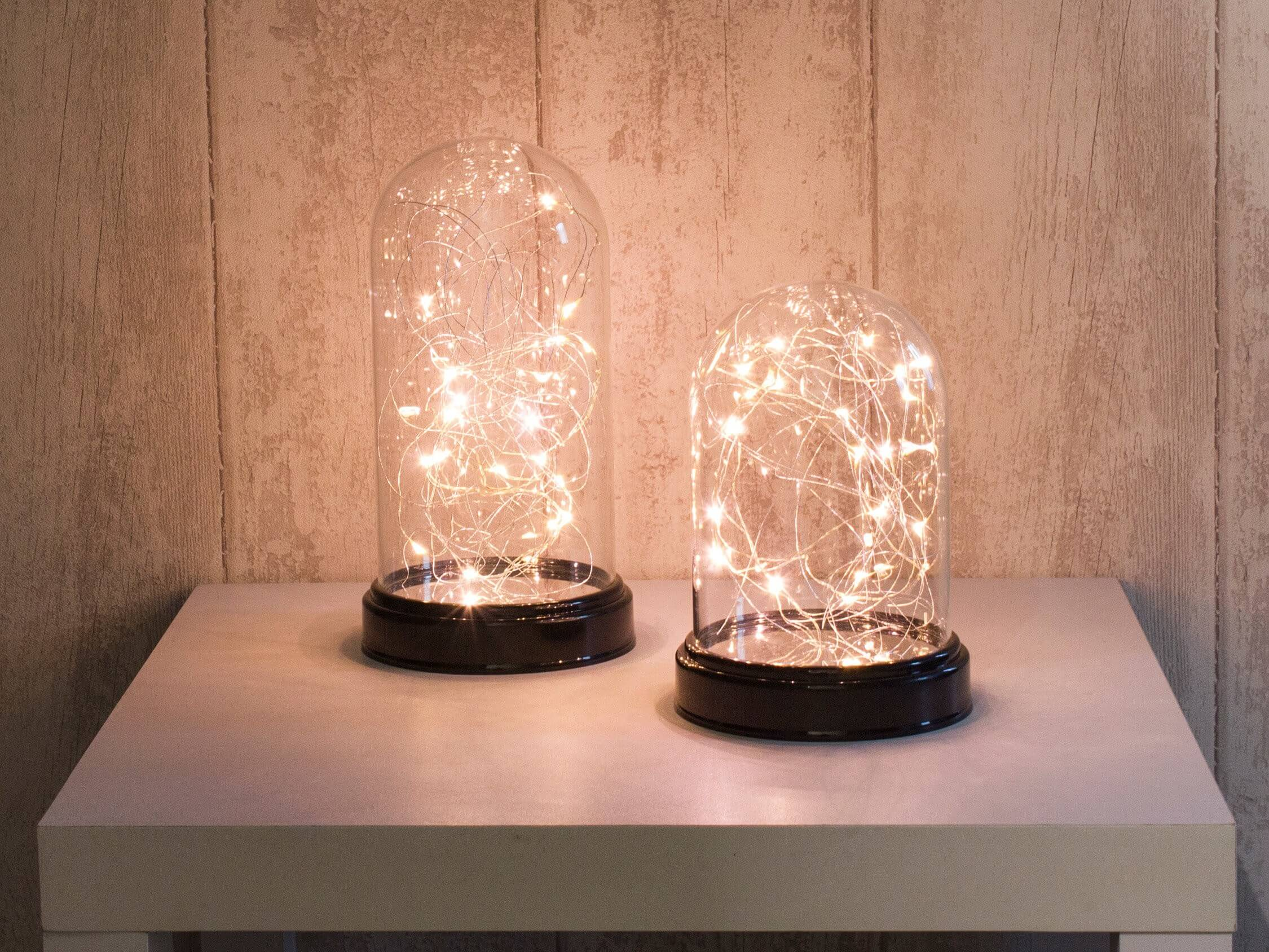 cloche verre guirlande lumineuse led 32cm blanc chaud cuivre. Black Bedroom Furniture Sets. Home Design Ideas