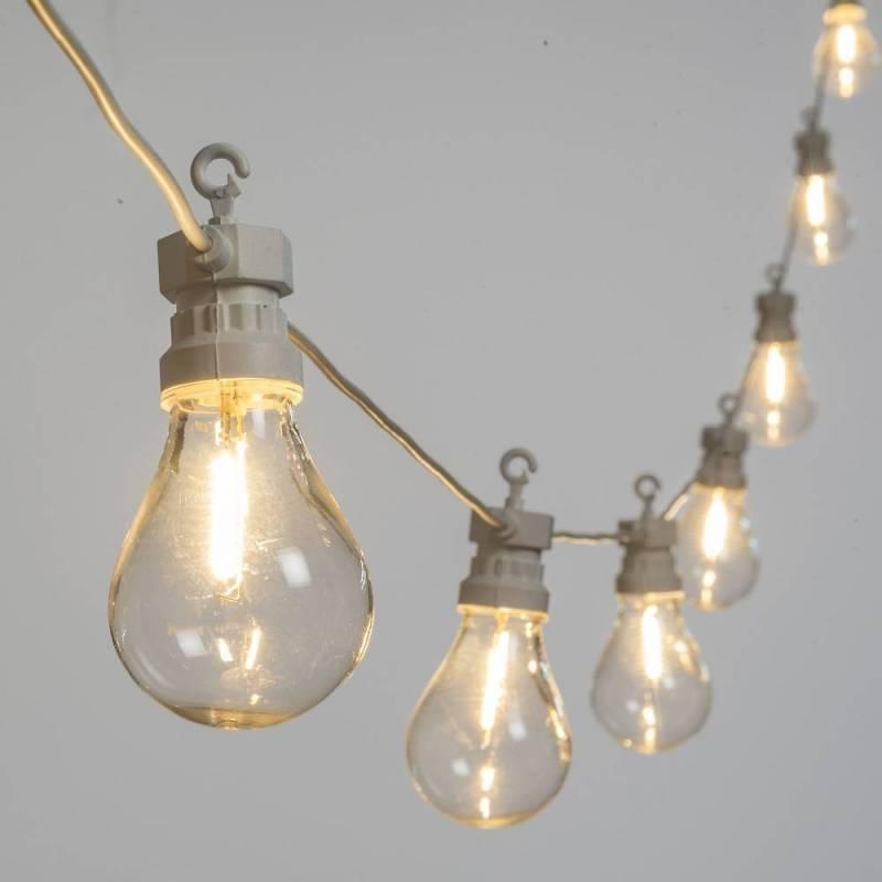 Guirlande guinguette cable blanc 5M 10 ampoules transparentes blanc chaud