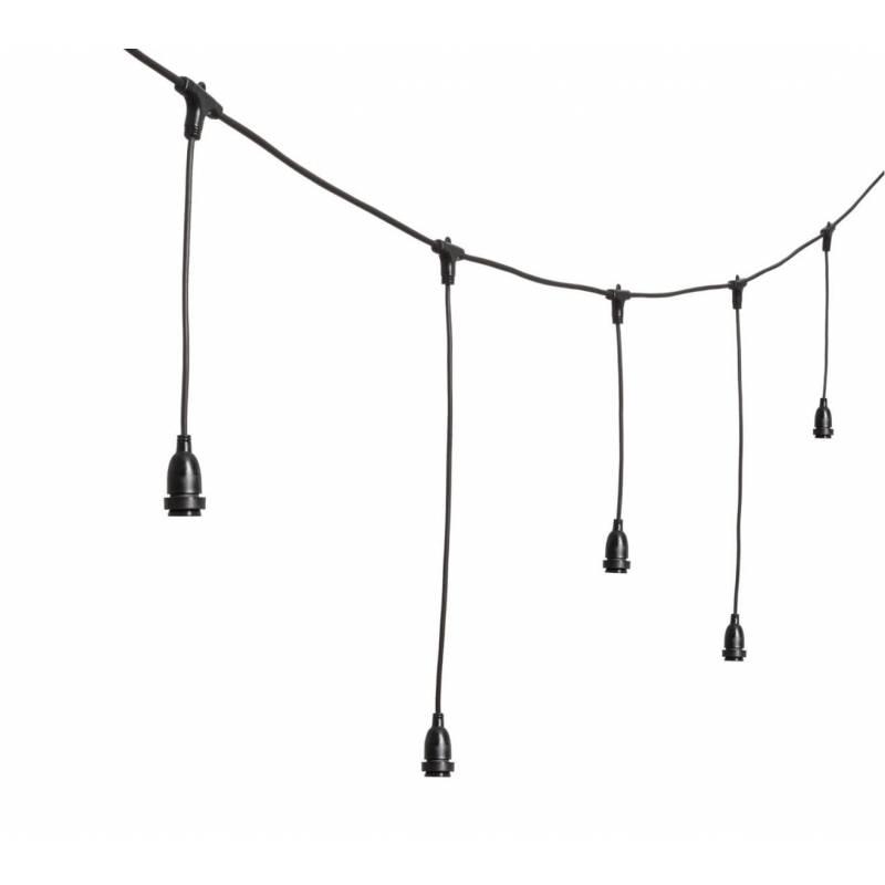 Guirlande Guinguette stalactite suspendue 5M 8 douilles E27 cable noir hauteur 70CM
