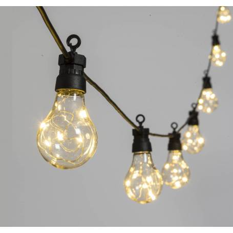 Guirlande Guinguette 5M 10 ampoules fil lumineux micro led connectable