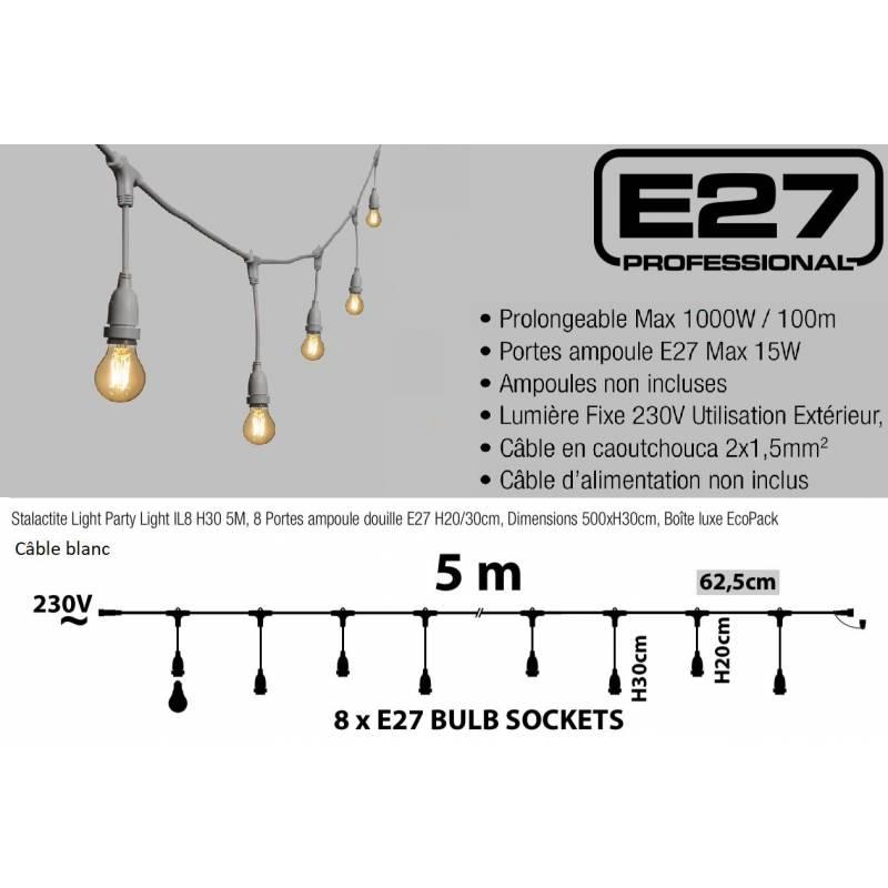 Guirlande Guinguette stalactite E27 cable blanc connectable dimensions
