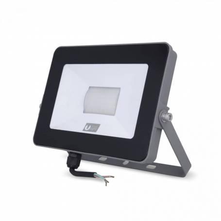 Projecteur led extra plat gris 20w blanc chaud ip65