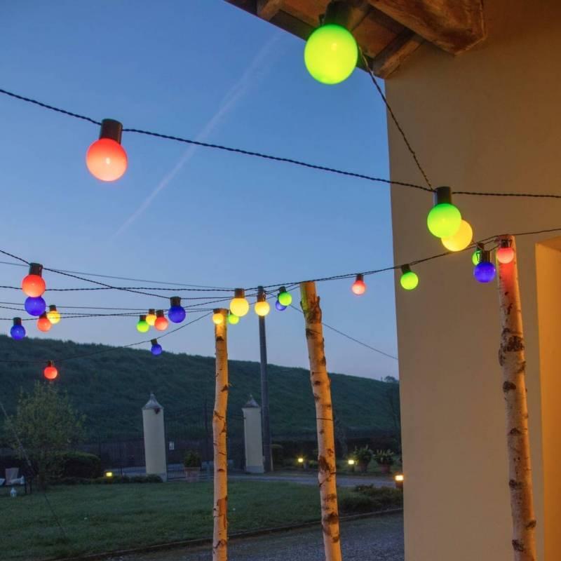 Guirlande Guinguette multicolore 10M 20 globes LED Pas cher