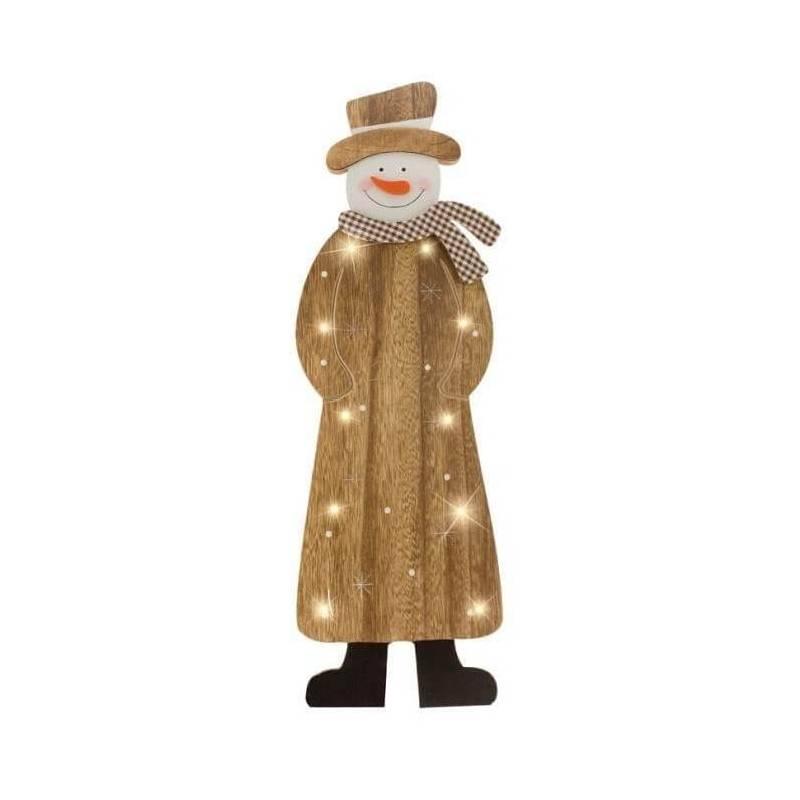 Bonhomme de neige en bois lumineux led blanc chaud