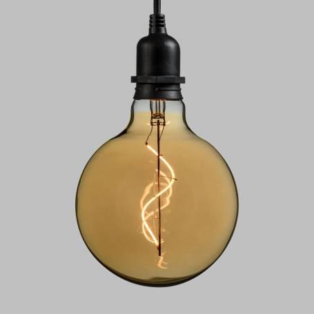 Suspension piles ampoule sphère 12CM vintage spirale verre E27 extérieur professionnel