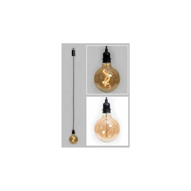 Suspension piles ampoule sphère 12CM vintage spirale verre E27 extérieur