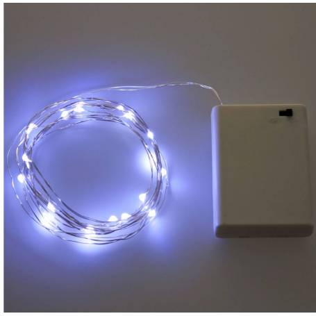 Guirlande lumineuse pile LED blanc froid