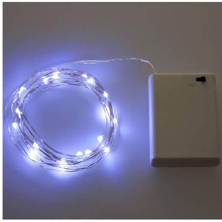 Guirlande lumineuse piles 12M 120 Micro LED blanc froid professionnel