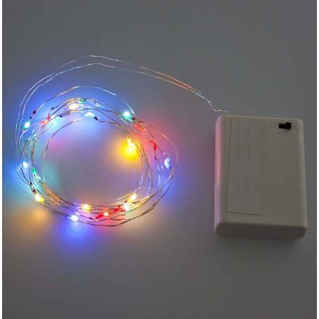 Guirlande lumineuse piles 2M 20 Micro LED multicolore